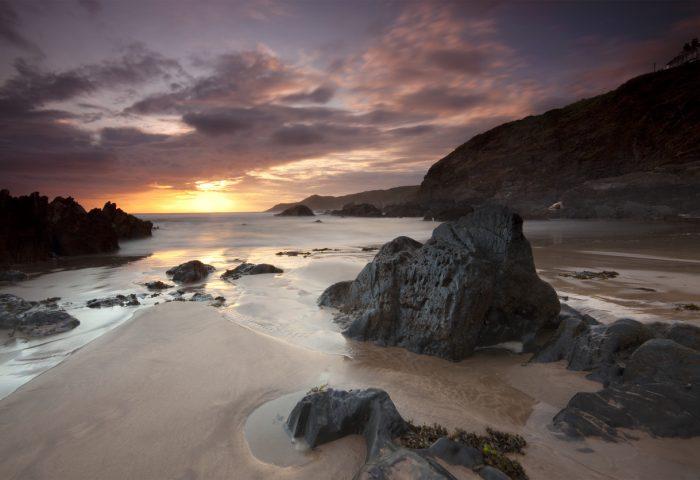 A dramatic sunset at woolacombe on the Atlantic North Devon Coast.