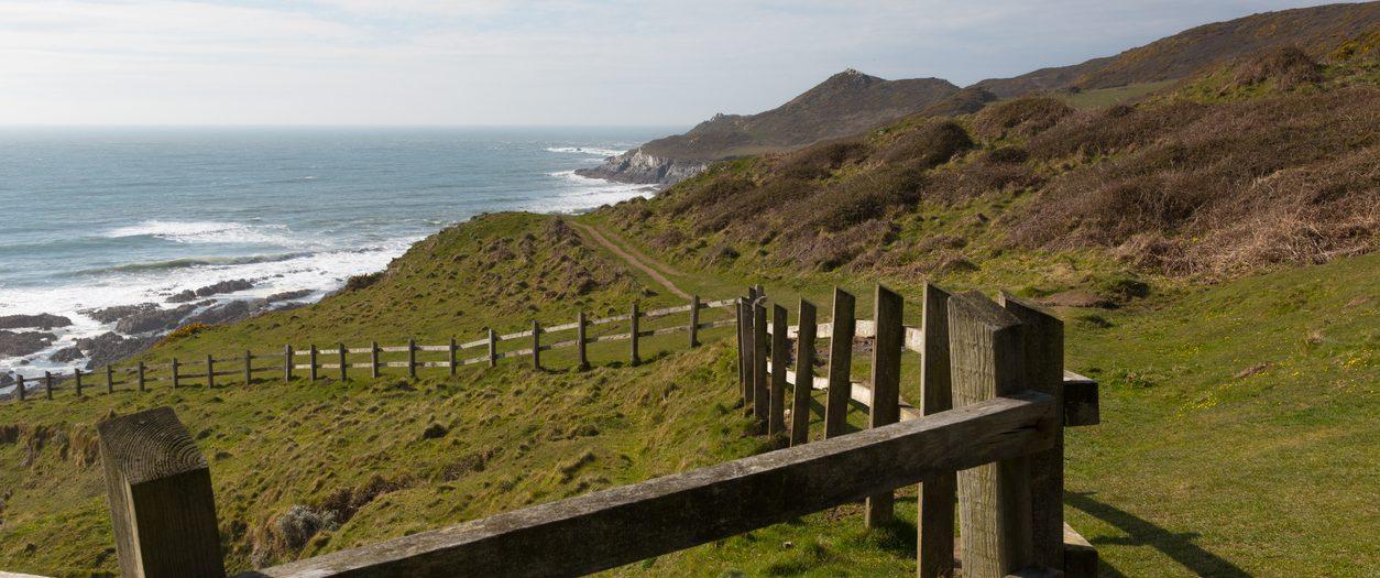 South West Coast Path view Woolacombe Devon England towards Morte Point