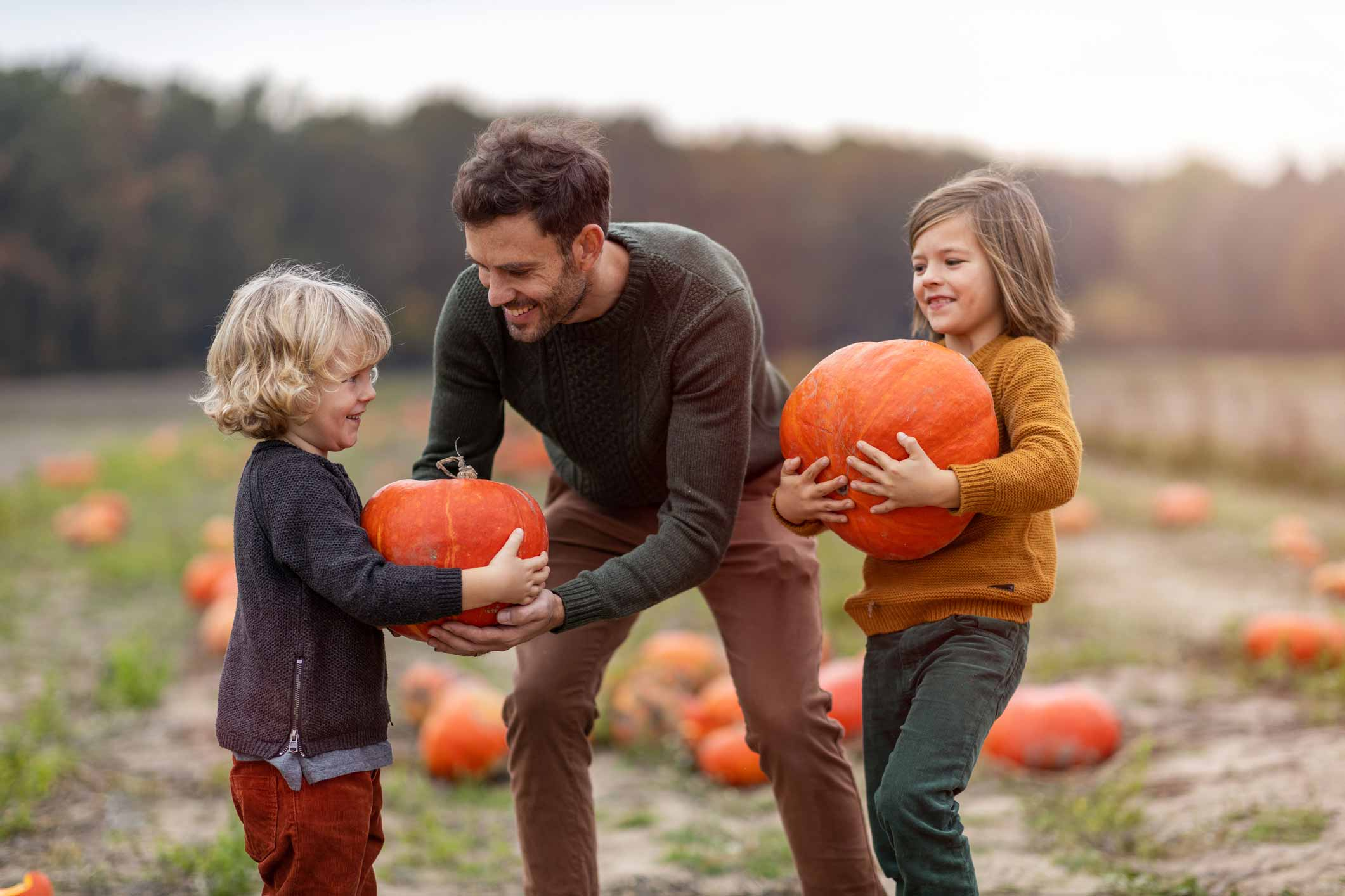 Family picking haloween pumpkins on holiday in North Devon